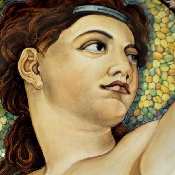 Piatto in ceramica Deruta. Cesare Margaritelli. Eva. Particolare