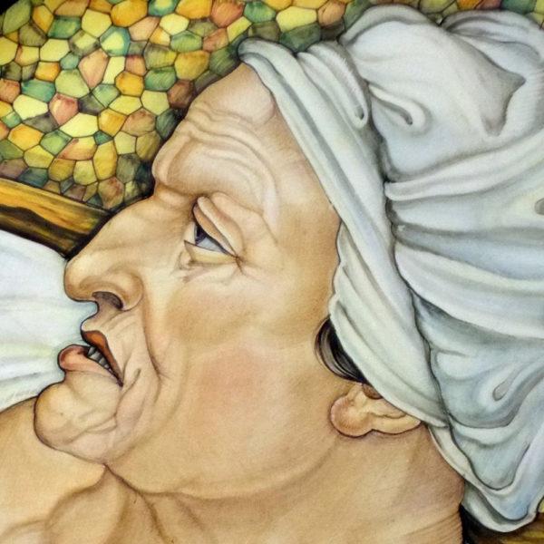 Piatto in ceramica Deruta. Cesare Margaritelli. Sibilla Cumana. Particolare